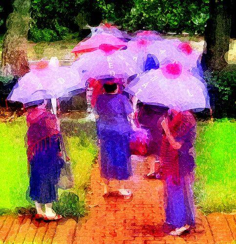 Red hat in umbrellas_Painting, artist?