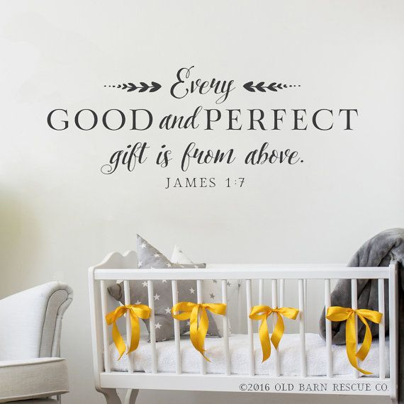 Nursery Wall Decal, Every good and perfect gift, Bible Wall Decal, Christian Wall Decals Scripture Quote, Nursery Wall Sticker