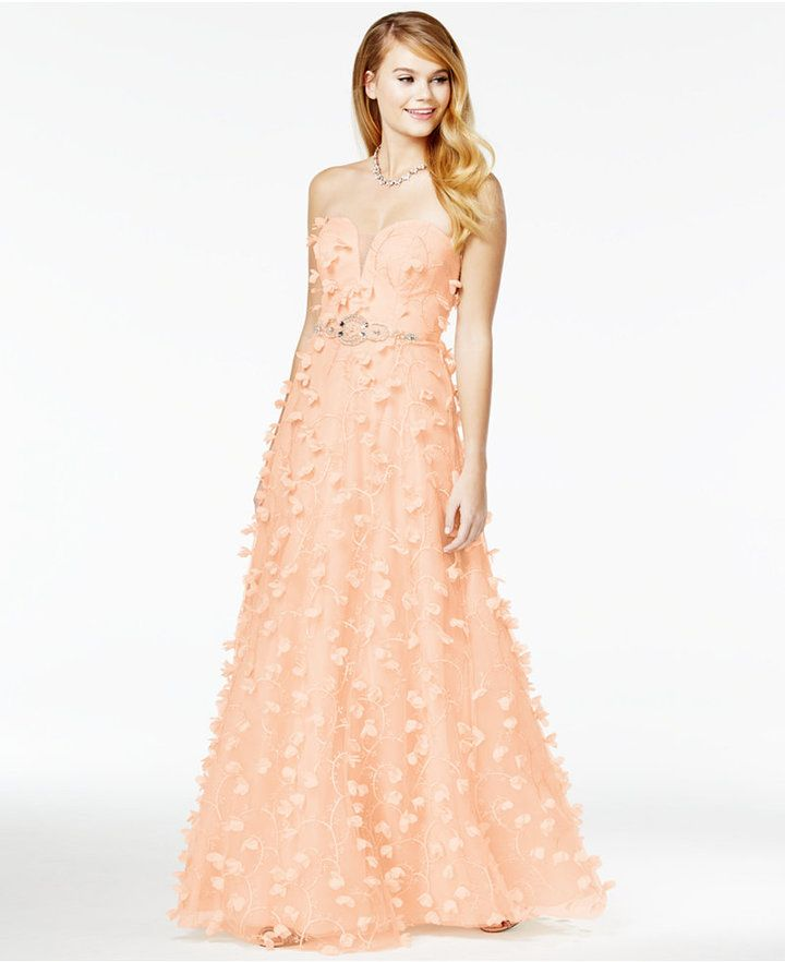 Say Yes to the Prom Juniors\' Strapless Floral-Appliqué Gown, A ...