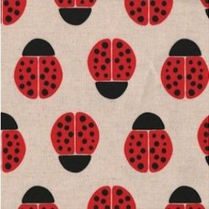 Ladybirds! I looove ladybirds.  Kokka - Ellen Lucket Baker Red Ladybirds on Natural Oxford Cloth