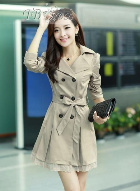 High Quality Slim Lace Double-breasted Lapel Long Trench Coat : Tbdress.com