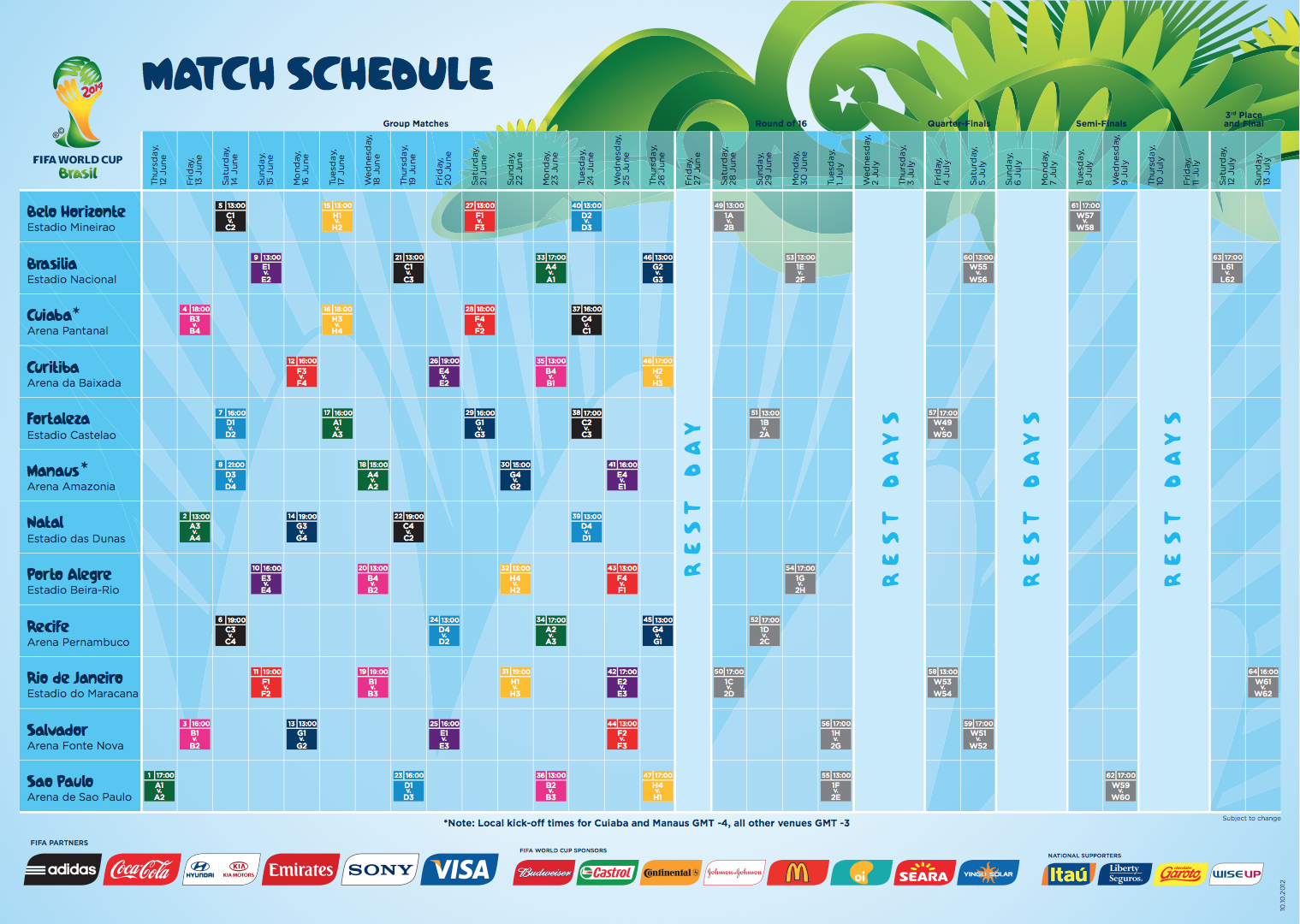 2014 World Cup Schedule World Cup Schedule Fifa 2014 World Cup World Cup Match