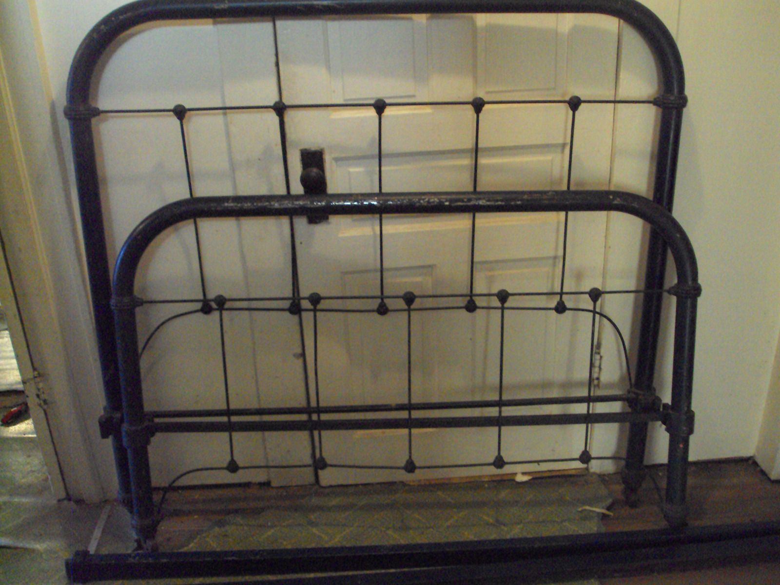 Antique Navy Black Wrought Iron Bed Frame And Rails Size