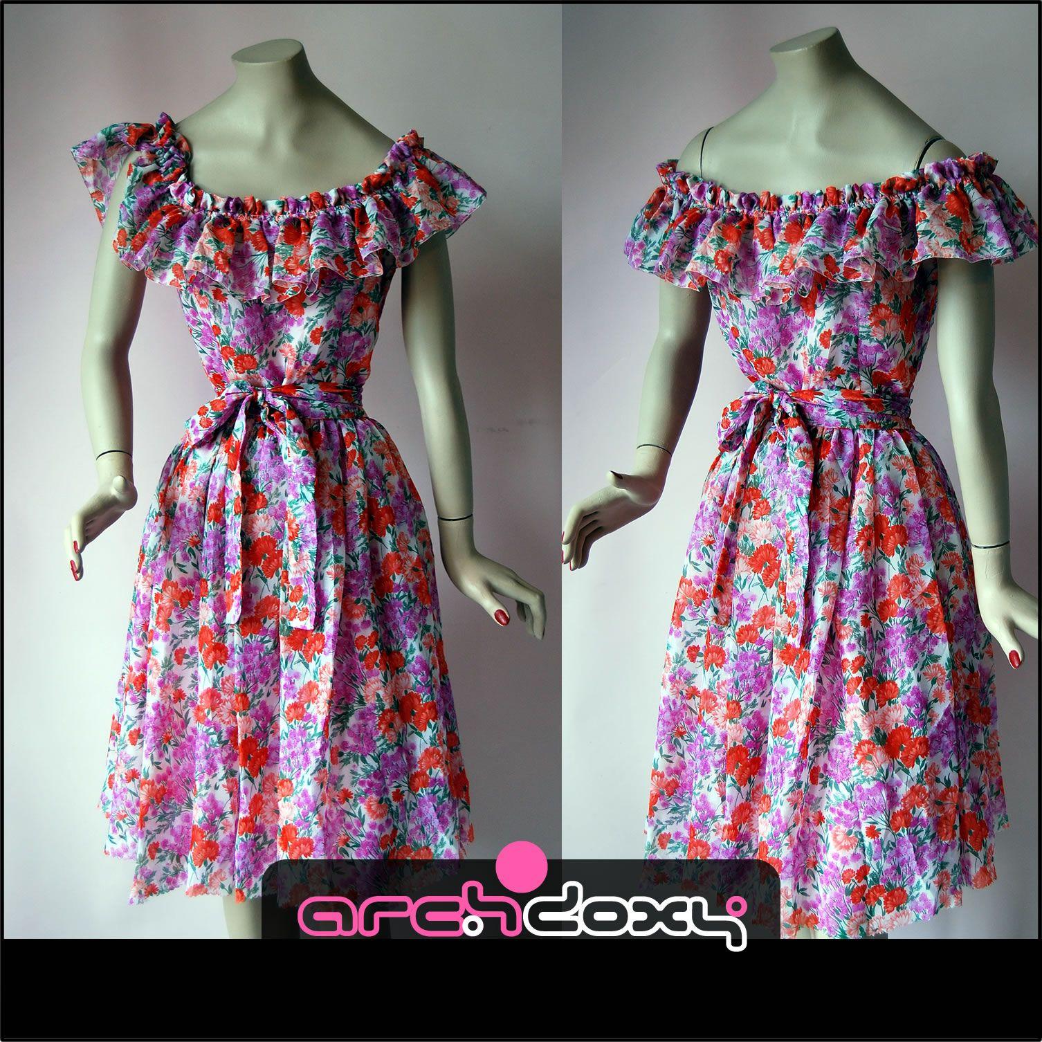 Vintage s frilled prom style print floral carnation brigitte