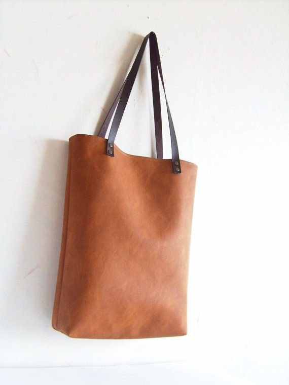 Leather tote tas grote tote tas vegan leather tote door allbyFEDI