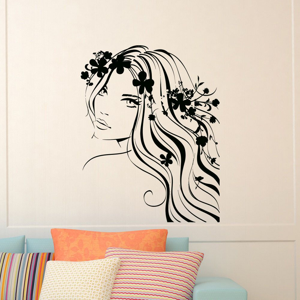 Muur stickers vrouw meisje haar bloem Vinyl Sticker Decal kappers Beauty Salon Decor meisjes levende kamer Home interieur kunst muurschildering Z537 door WisdomDecals op Etsy https://www.etsy.com/nl/listing/207282893/muur-stickers-vrouw-meisje-haar-bloem