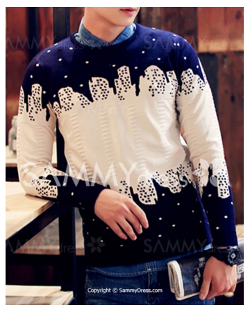 Irregular Color Spliced Abstract Pattern Slimming Round Neck Long Sleeves Polka Dot Sweater For Men. #picsandpalettes