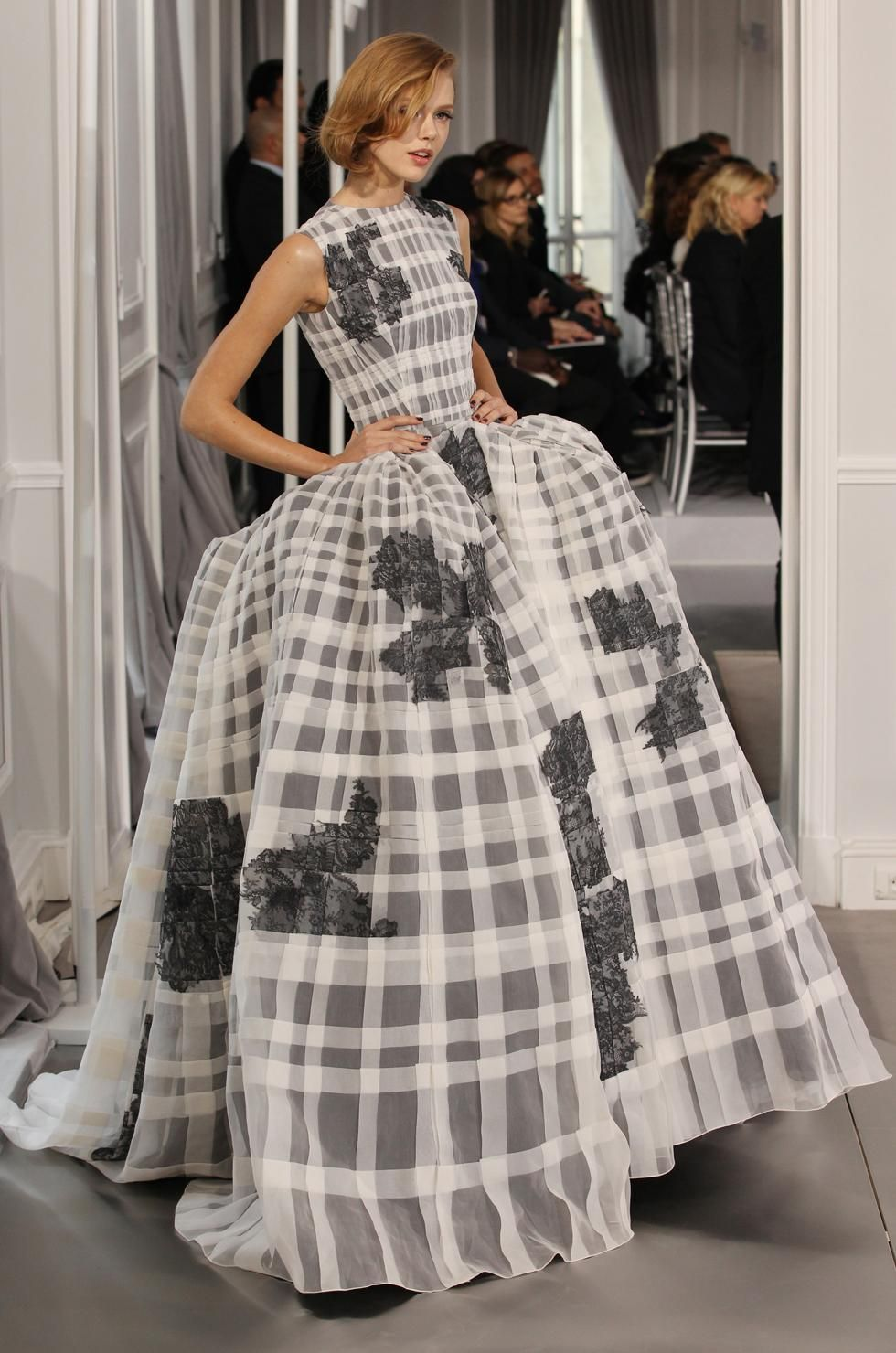 Plaid wedding dress  Embroidered black and white silk dress Dior SpringSummer