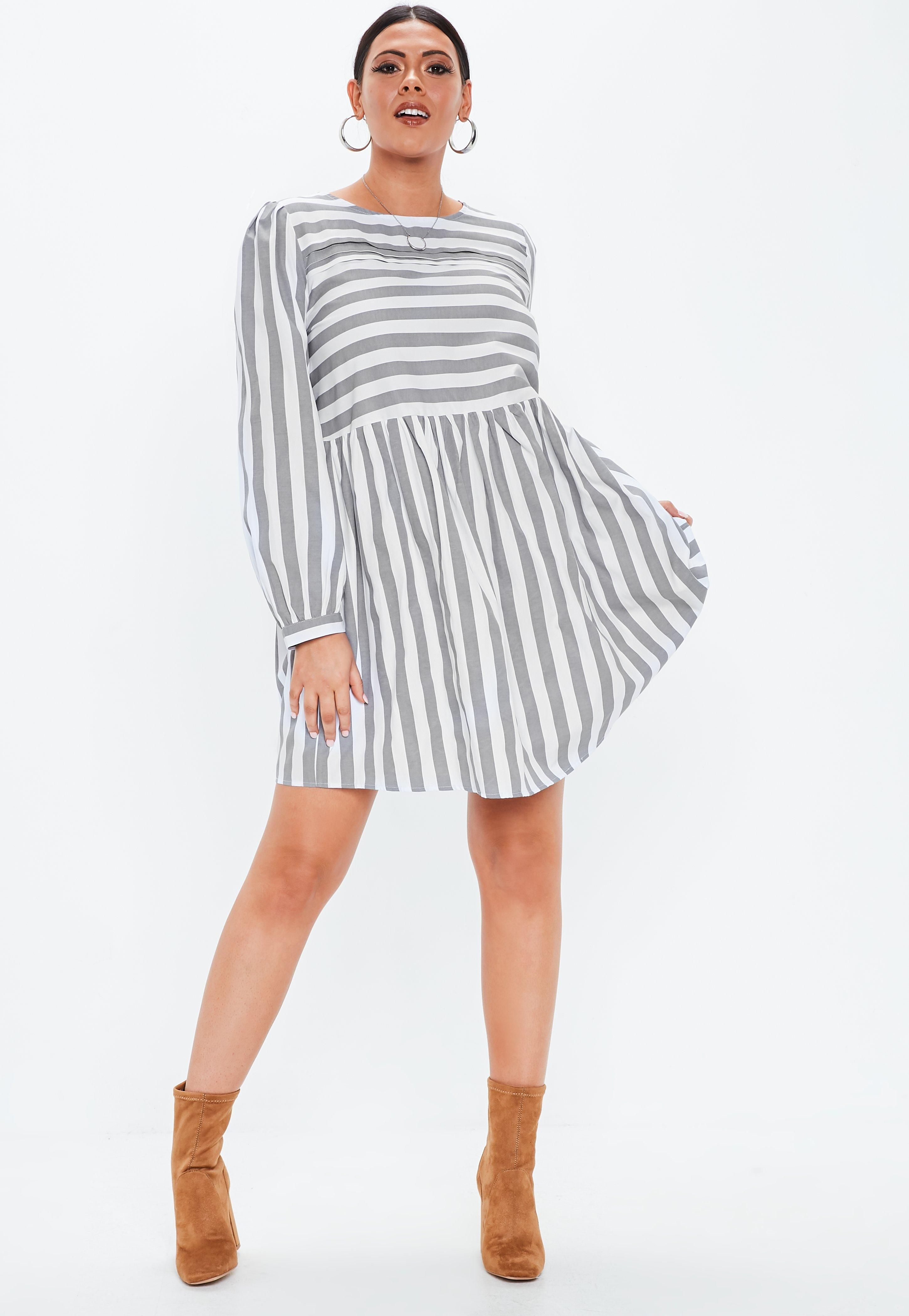 Plus Size Gray Stripe Long Sleeve Skater Dress in 2019 ...