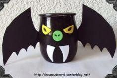 halloween decoration with a material glass yogurt pot …