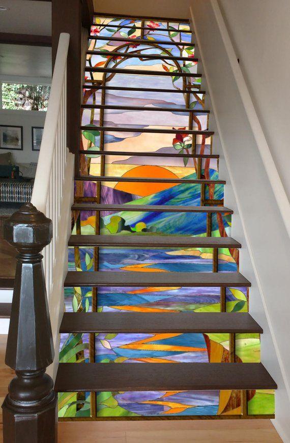 Best Stained Glass Sunrise Stair Art Stairway Lighting 640 x 480