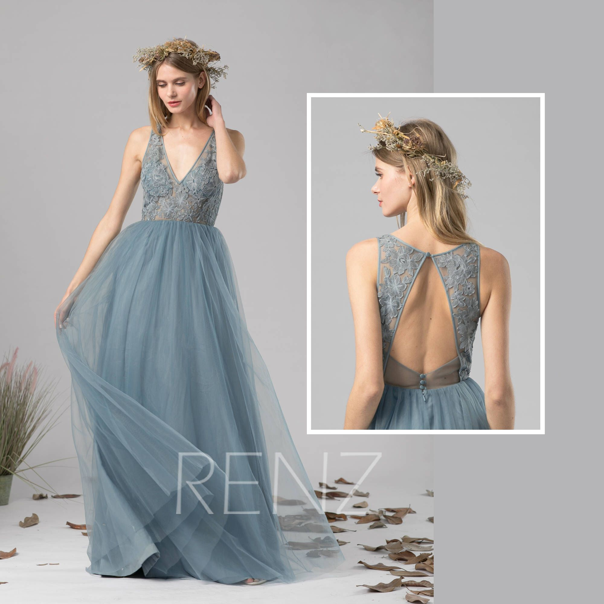 Bridesmaid Dress Dusty Blue Tulle Dress Wedding Dress,Illusion V ...