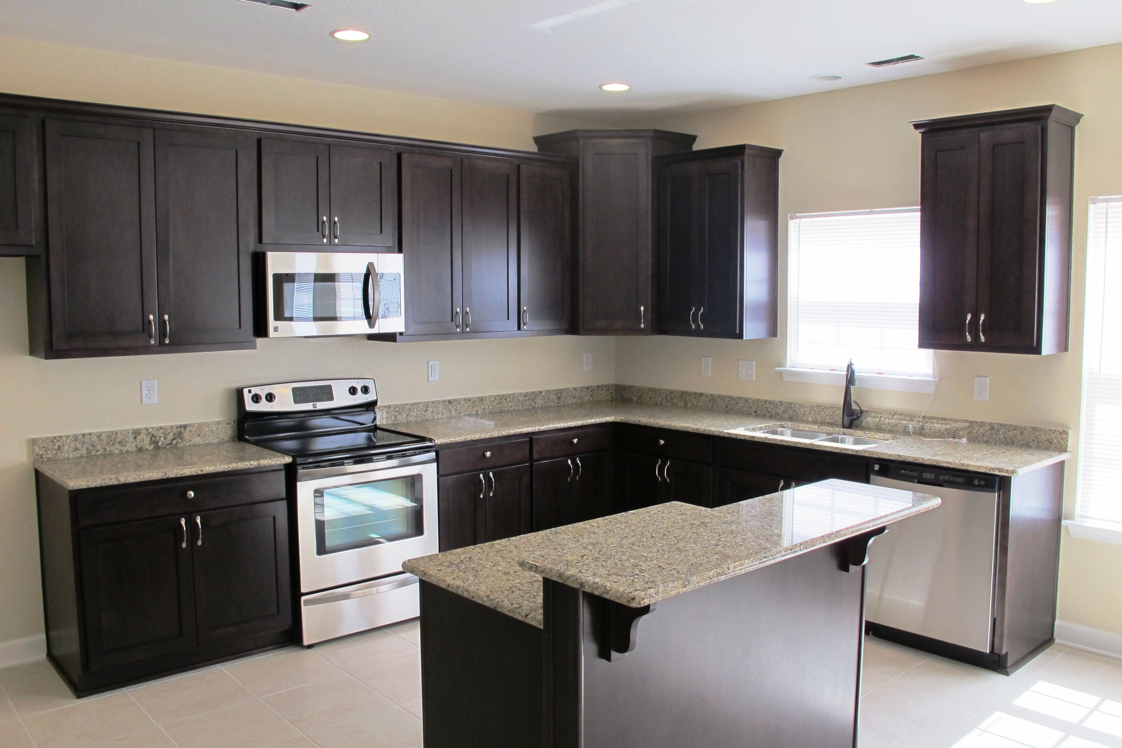 Incredible Hardwood Espresso Kitchen Cabinets With Small Bar Island     Incredible Hardwood Espresso Kitchen Cabinets With Small Bar Island White  Granite Glossy Tops And Great L shaped Kitchen Cabinetry Set Style In  Modern