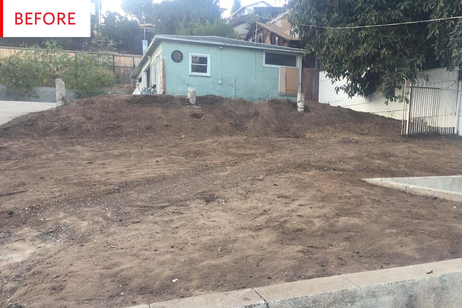 Before And After A Massive Dirt Pile Becomes A Dreamy Outdoor Escape Backyard Backyard Makeover Backyard Patio