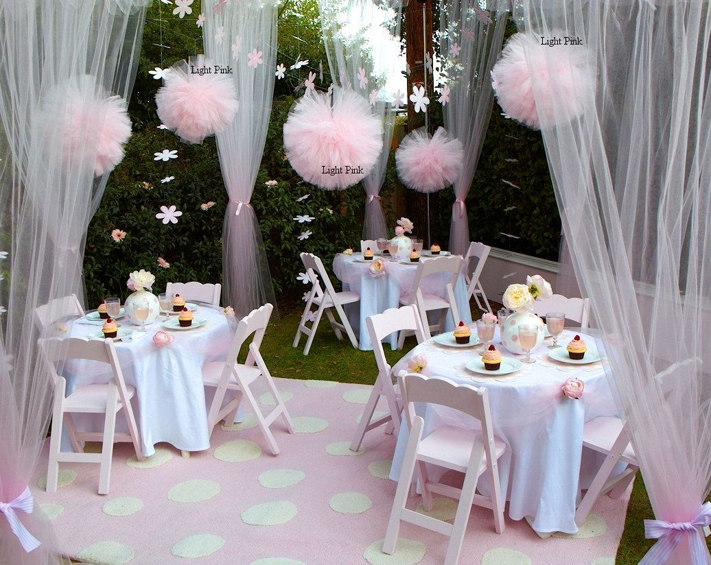 Party pom poms for girls birthday party hanging decor for Baby girl party decoration ideas