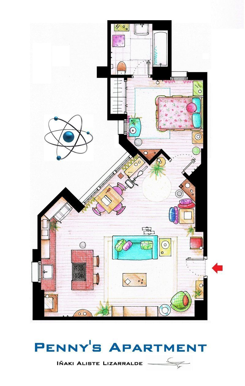 Floor Plans Of Homes From TV Shows - like Big Bang Theory, Wil ...