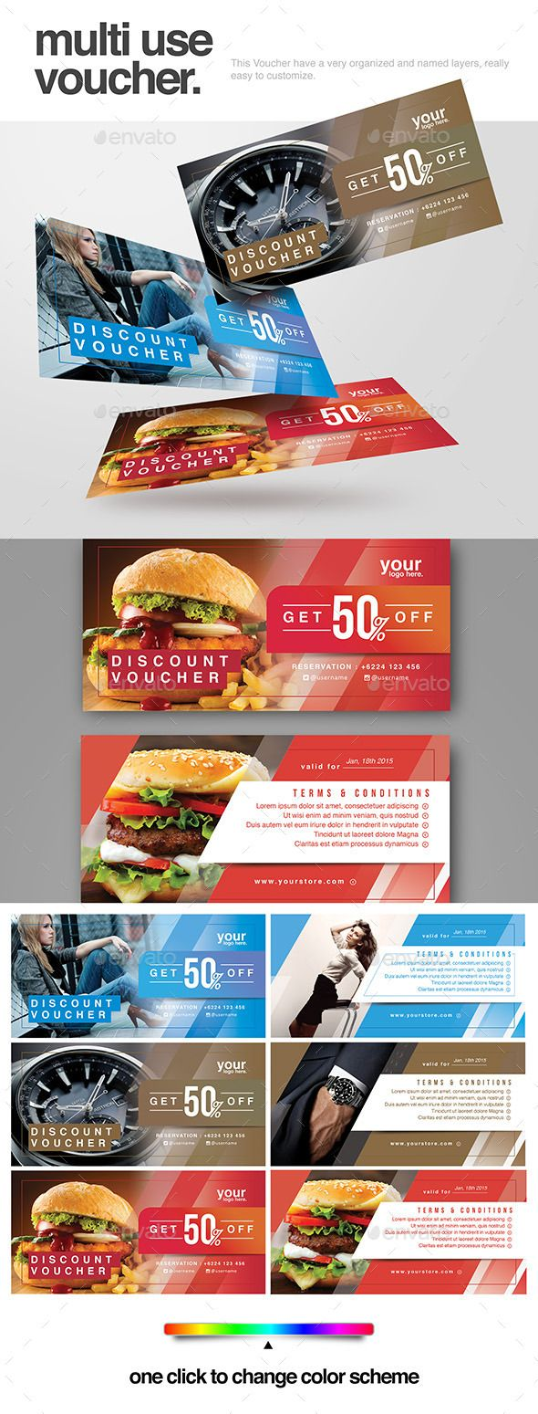Multi use Voucher Template PSD #design Download: http://graphicriver.net/item/multi-use-voucher/14042848?ref=ksioks