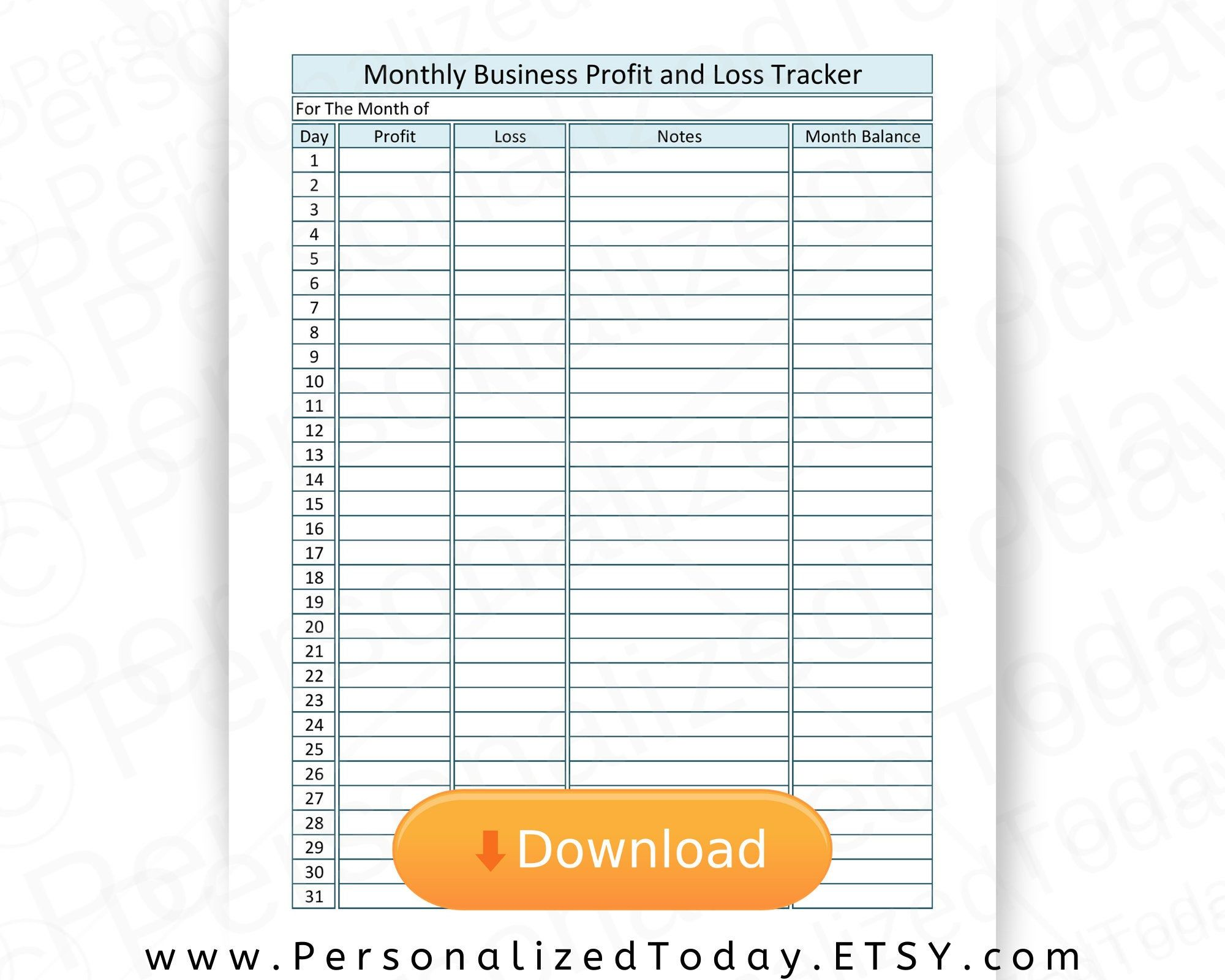 Printable Small Business Cash Flow Tracker Daily Monthly