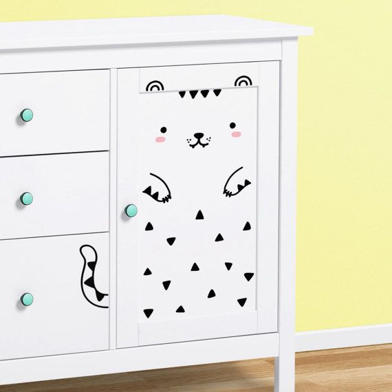 Tofu the tiger medium wall decal for ikea closets kitchen cabinets dishwasher