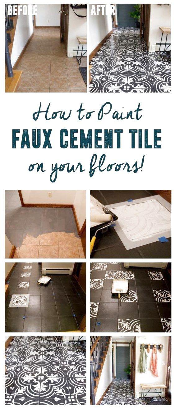 Diy Faux Cement Tile How To Paint Tile Diy Faux Cement Tile Floors