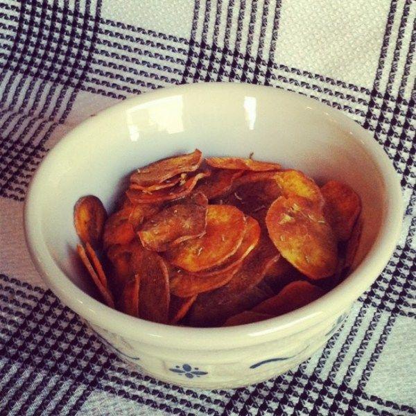 Paleo Rosemary and Sea Salt Sweet Potato Chips - Plaid & Paleo