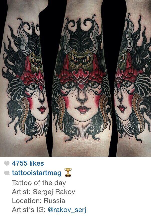 b6220769d02e8 Traditional Girl/Demon tattoo | Traditional | Demon tattoo, Girl ...