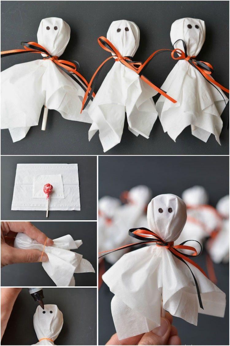 super last minute ideen halloween süßigkeiten verpacken geister ...