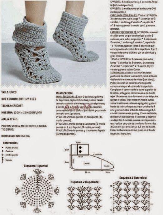 AS RECEITAS DE CROCHÊ: Bota de croche para adulto | Pantunflas ...