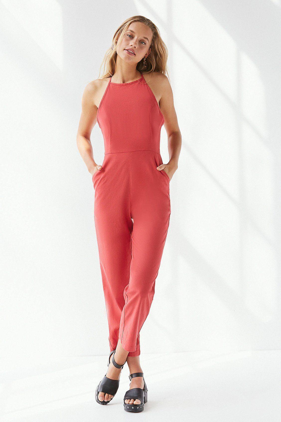 cd1532545e1 UO Hattie High-Neck Linen Jumpsuit