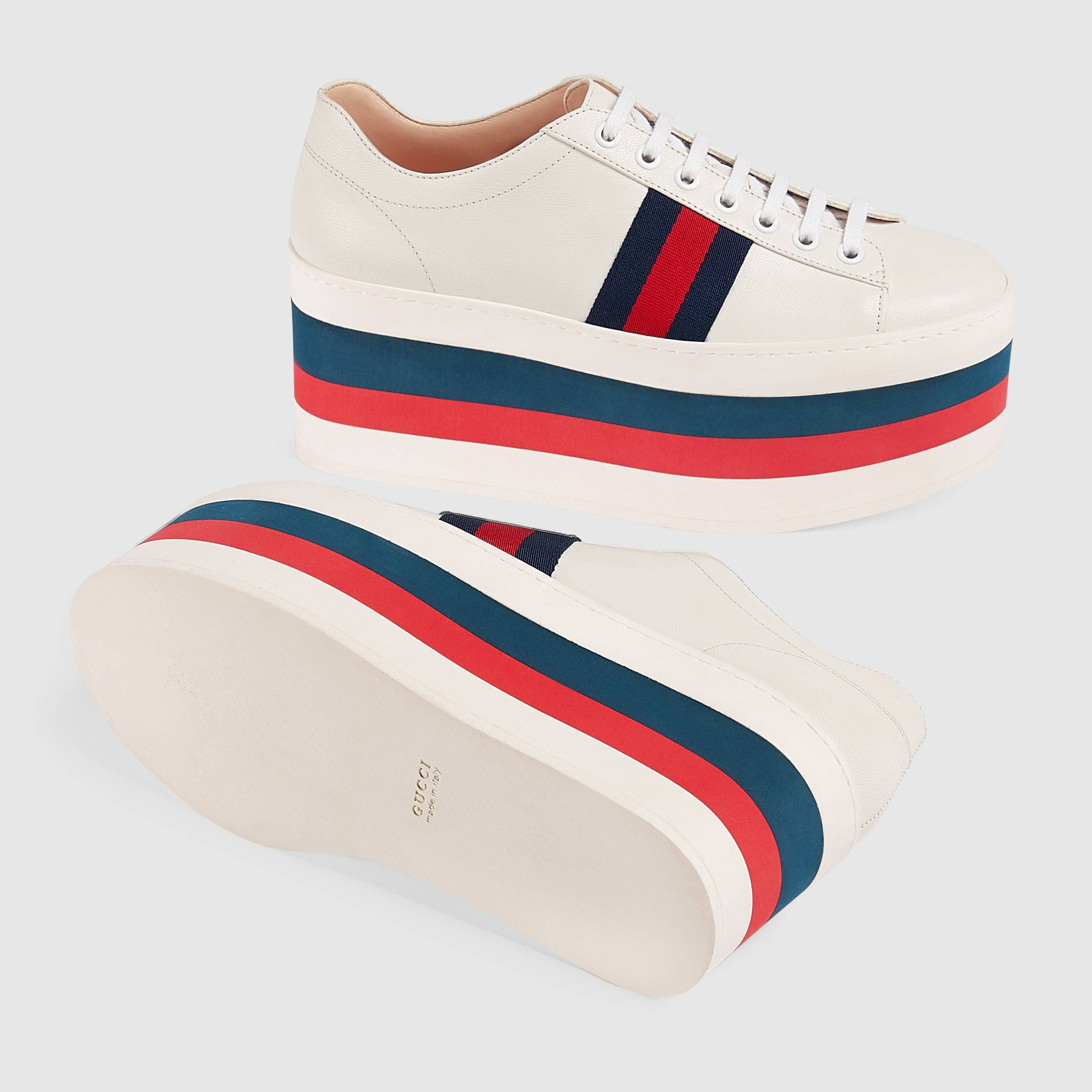 quality design 2730c 4dc09 Gucci Leather platform sneaker Detail 5 Gucci Shoes Sneakers, Fab Shoes,  Leather Sneakers,