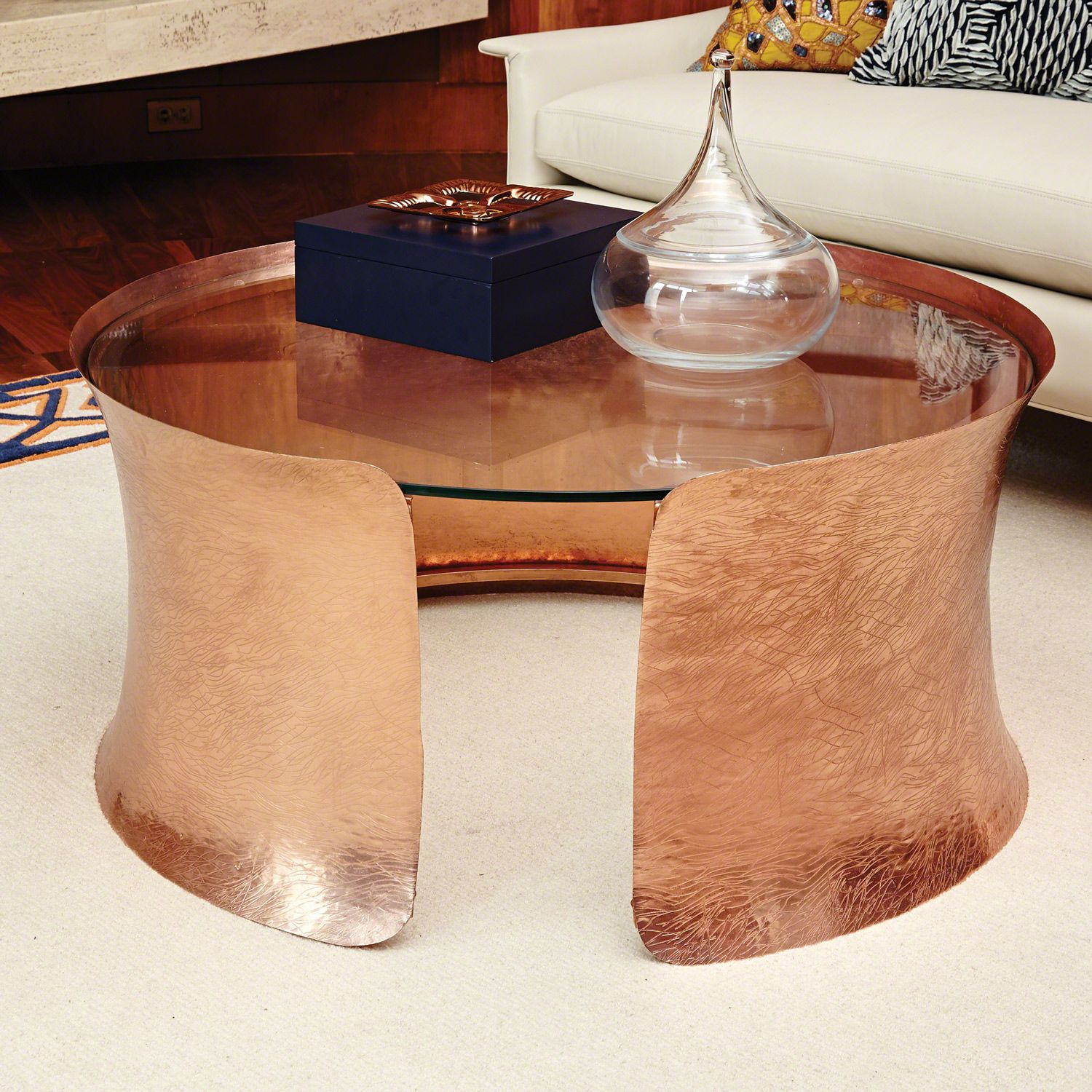 Global Views Cuff Copper Cocktail Table Glass Top Coffee Table Copper Coffee Table Coffee Table [ 1500 x 1500 Pixel ]