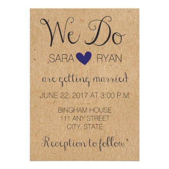 Simple Rustic Wedding Invitation with Cursive Handmade wedding