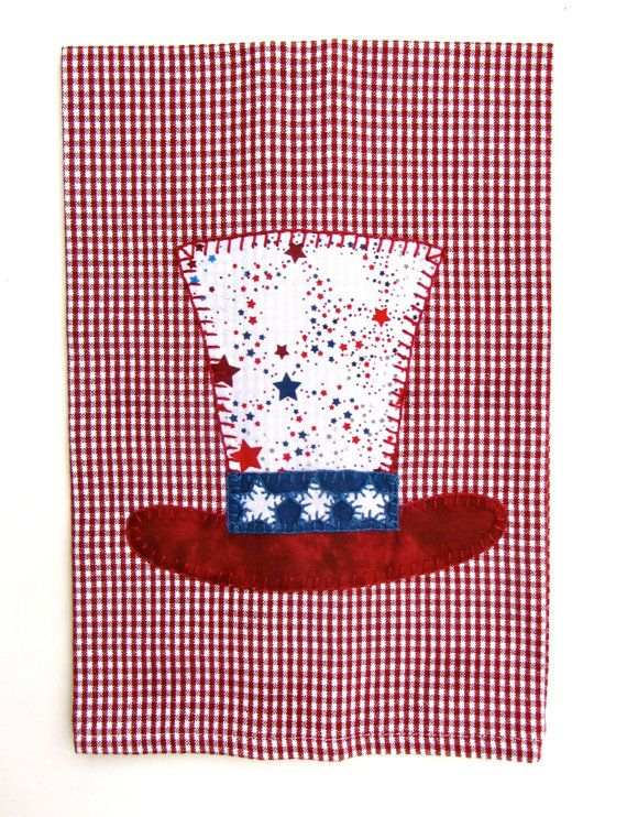 Patriotic 4th Of July Applique Tea Towel Kitchen Towel Dish