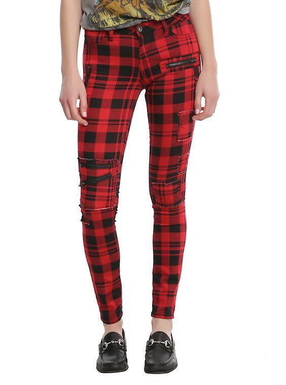da046fb07ba Blackheart Red   Black Plaid Super Skinny Pants