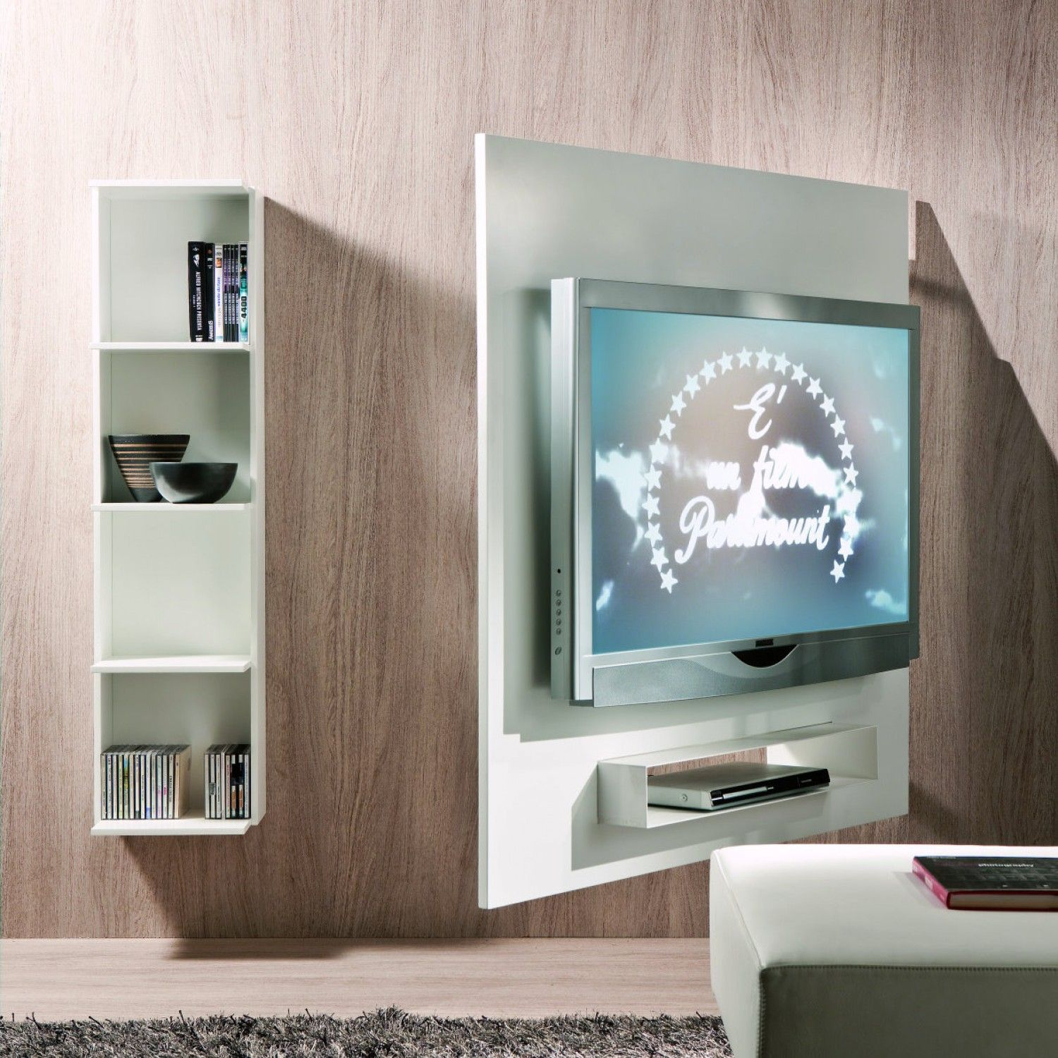 ghost schwenkbares tv-wandpaneel mit bücherregal | tv mounting ideas