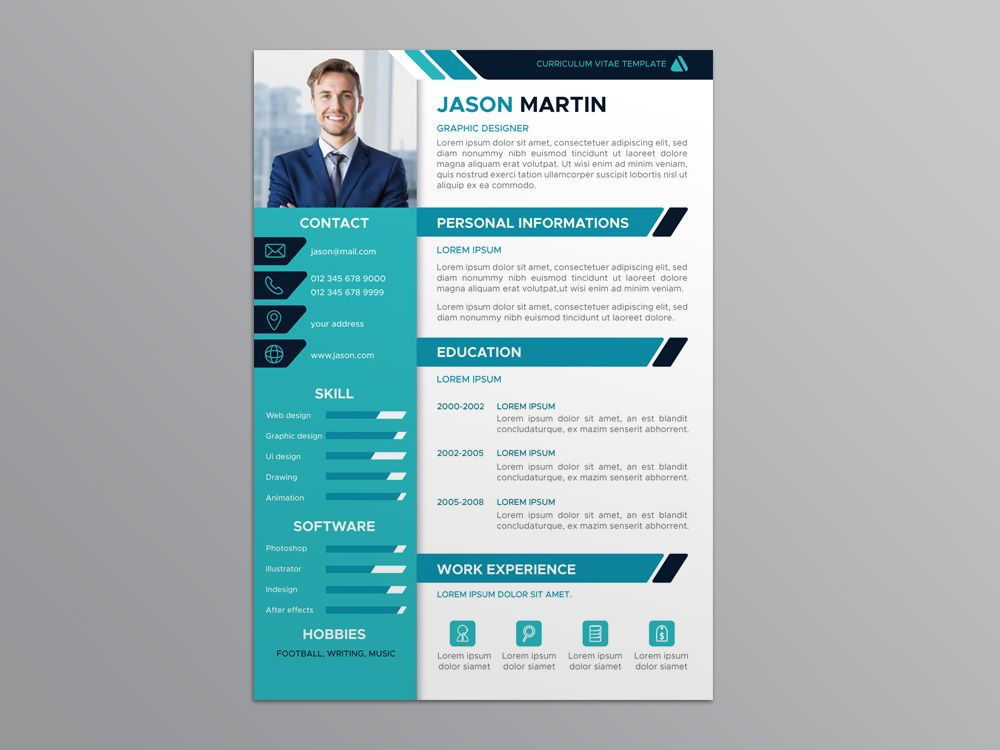 Free Flat Resume Template With Professional Design For You Next Job Hunting Available In Eps File Format This F Cv Kreatif Creative Cv Template Desain Resume