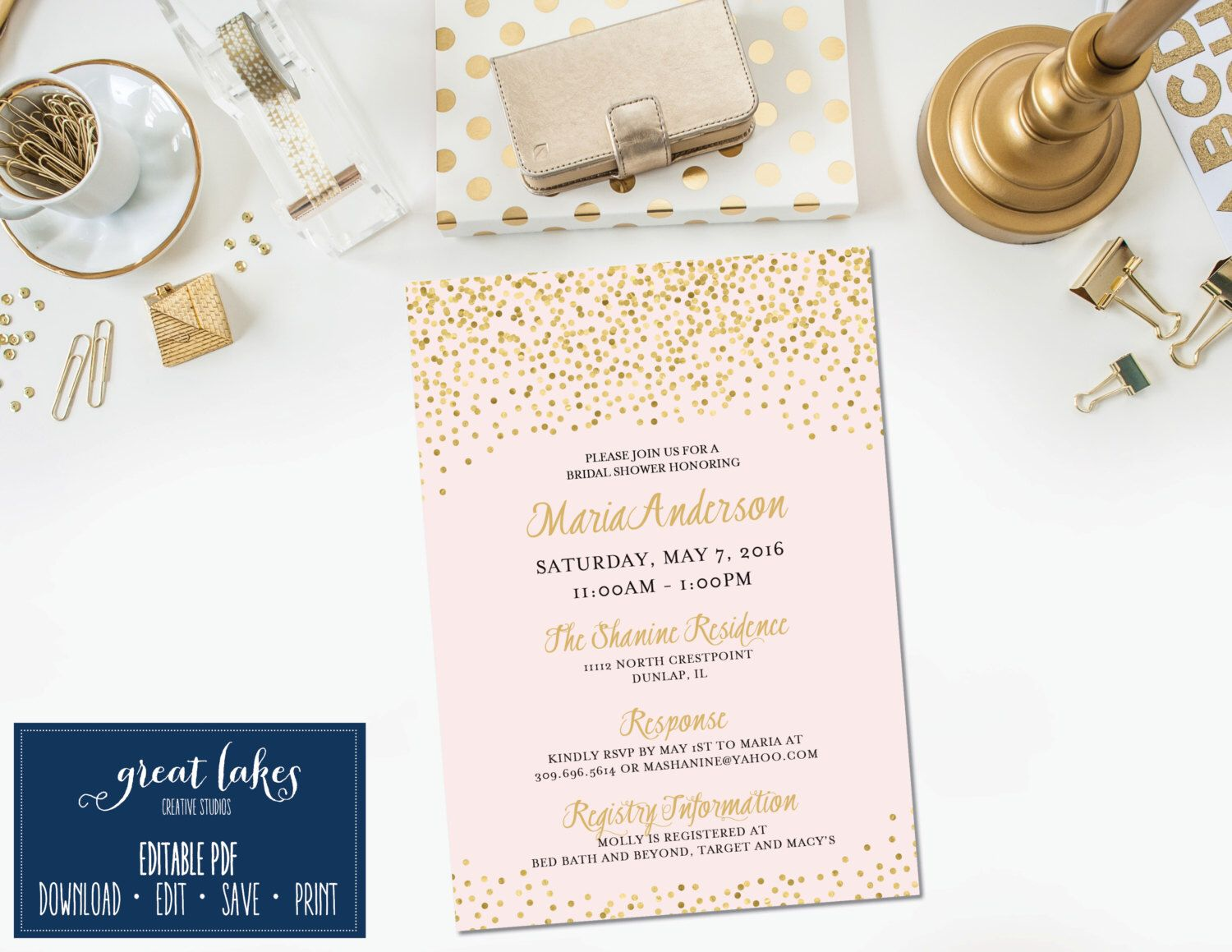 Invitation Template Bridal Shower Invite With Gold Confetti Gold