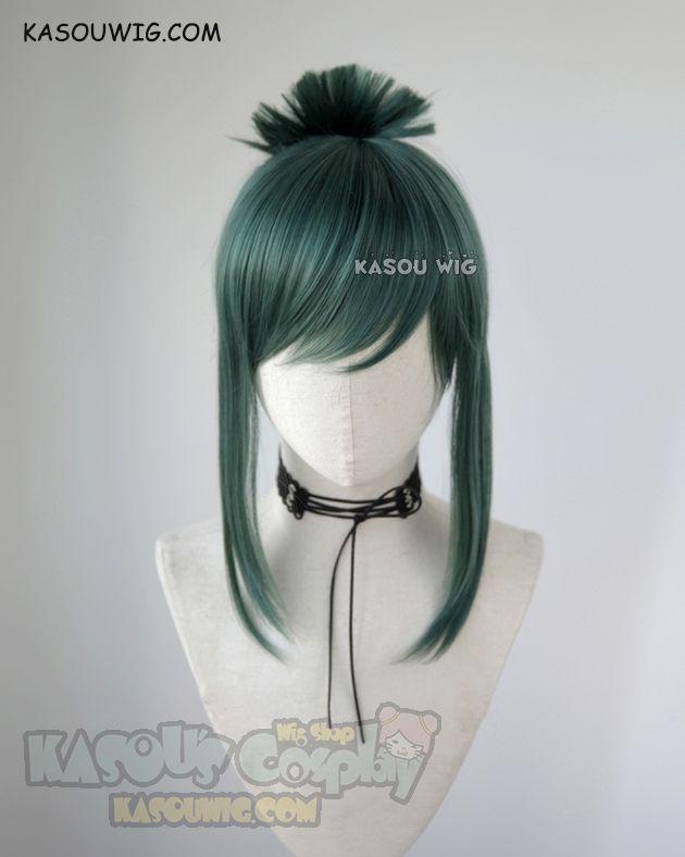 Photo of My Hero Academia Tsuyu Asui green cosplay wig with bun