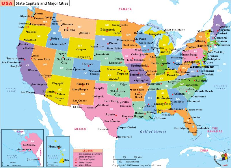 city map of united states Map of US with States and Cities in 2020 | Us map with cities, Us