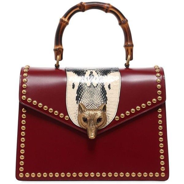 6397500aba95 Gucci Women Fox Head Bamboo Leather Top Handle Bag ($4,090) ❤ liked on  Polyvore featuring bags, handbags, red, bamboo handbags, bamboo purse, bamboo  handle ...