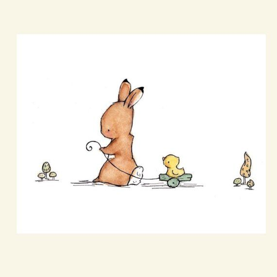 Children's Art Print Bunny And Duck 5x7 by trafalgarssquare