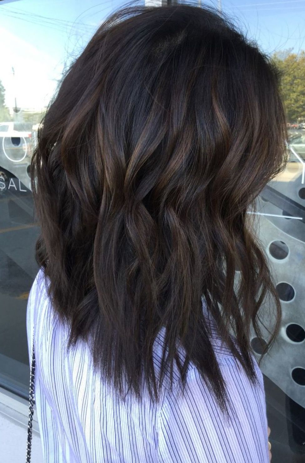 Mid Length Natural Brown Lob Hair Styles Dark Brown Hair Balayage Black Hair Balayage