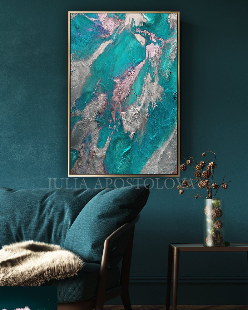 Earth Abstract Teal Wall Art Painting Marble Wall Art Decor Etsy In 2020 Teal Wall Art Minimalist Painting Wall Art Painting