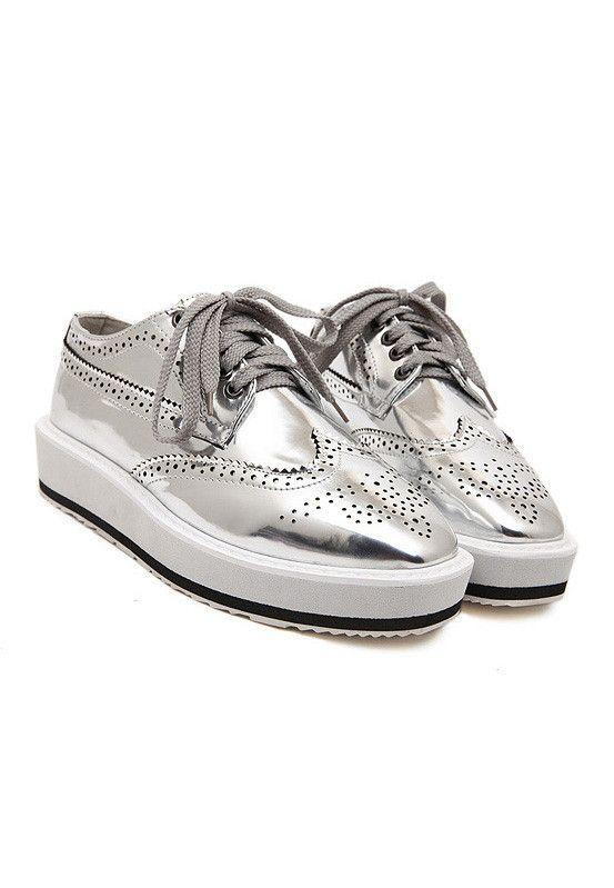 Metallic Silver Flatform Brogue Detail Shoes