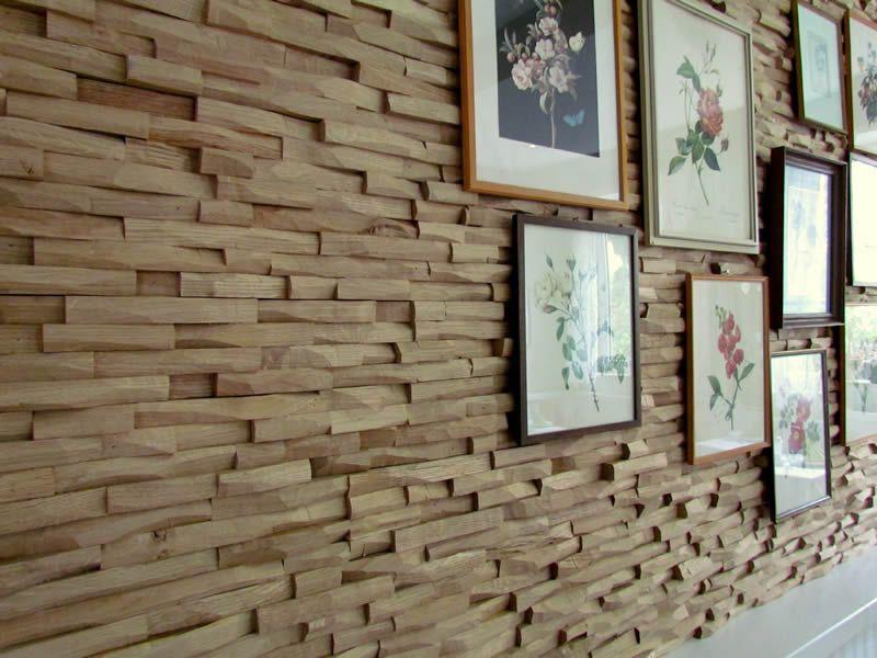 holzwandverkleidung mit mosaik holz innovative. Black Bedroom Furniture Sets. Home Design Ideas