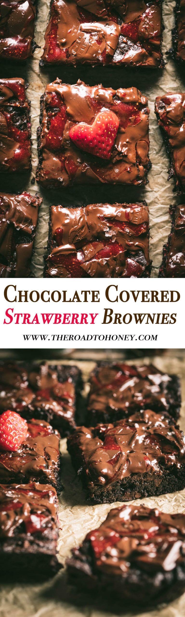 Chocolate Covered Strawberry Brownies #freezedriedraspberries
