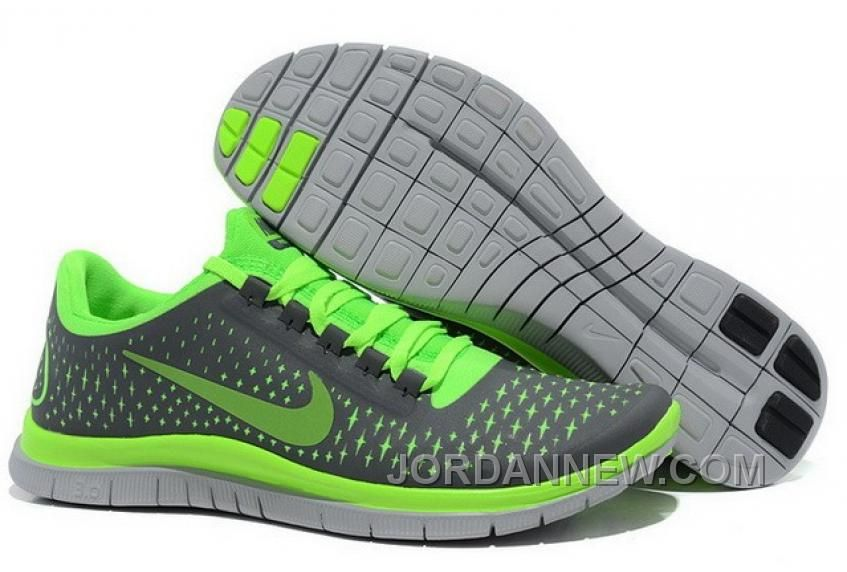 Attractive Nike Free Run Shoes Mens Grey Fluorescent Green Reflect Silver