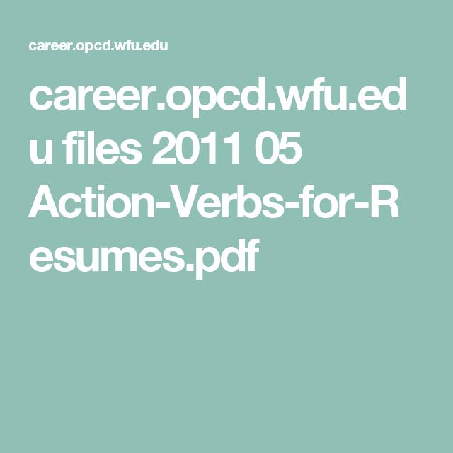 Career.opcd.wfu.edu Files 2011 05 Action-Verbs-for-Resumes