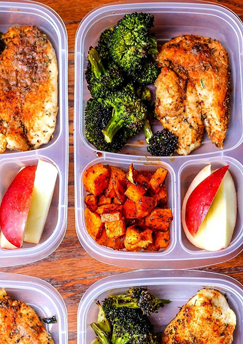 Prep Lunch Bowls with Spicy Chicken Roasted Lemon Broccoli and Caramelized Sweet PotatoesMeal Prep Lunch Bowls with Spicy Chicken Roasted Lemon Broccoli and Caramelized S...