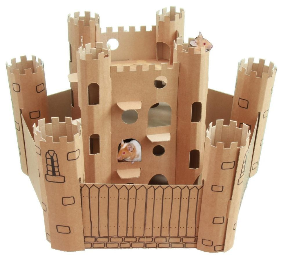 Smartkitz Cardboard Pet Castle And Bailey Small Cardboard Castle Cardboard Hamster